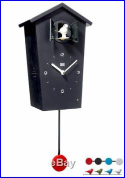 Kookoo Birdhouse Watch Black NewithBoxed Modern Design Cuckoo 4 Birds/Pendulum