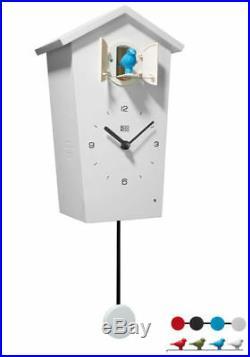 Kookoo Birdhouse Watch White New Modern Design Cuckoo 4 Birds/Pendulum