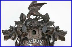 LARGE FUSEE 8 DAY ANTIQUE BLACK FOREST CUCKOO CLOCK to restore RARE MOVEMENT