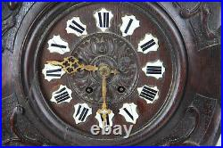 Large Antique Black Forest Wood carved Birds wall clock