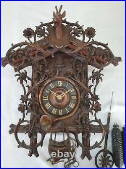 Large Antique Carved Black Forest German 8 day Cuckoo Clock