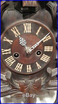 Large Carved Junghans Cuckoo Clock Unusual Intersting Clock Black Forest