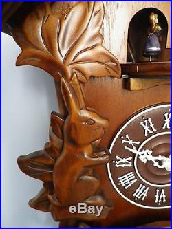 Large Carved Wood Cuckoo Wall Clock With Music & Dancing Angels. New. Wooden