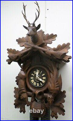 Large German Black Forest 8 Day Hunter Deer Hand Carved Rustic Cuckoo Clock