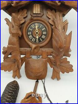 Large Hubert Hurr Black Forest German Double Weight Carved Cuckoo Clock