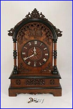 Large Rare Antique 40 Hour Dome top Cuckoo & Quail Mantel Shelf Clock