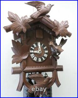 Large Unusual German 8 Day Black Forest 3 Bird Deeply Carved Wood Cuckoo Clock