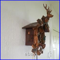 Large Vintage 8 Day Black Forest Hunter Cuckoo Clock