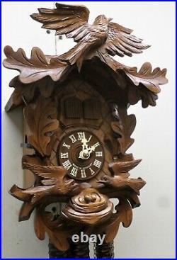Lightly Used German Black Forest Animated Nest Birds Eggs Musical Cuckoo Clock