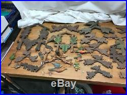 Lot of Cuckoo clock parts faces Toppers Wood Carvings Deer Birds lot