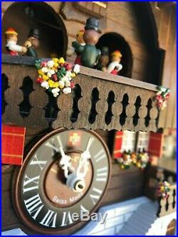 Lotscher Day Musical Cuckoo Clock Swiss Made # 978 Hand Made Art