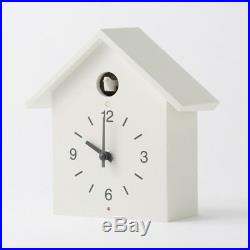 MUJI Cuckoo clock Large White Wall mounted Handmade bellows Light/dark sensor