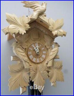 Mint German Large Black Forest Natural Wood Cuckoo Clock In Original Box & Coa
