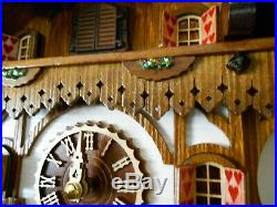 New Original Black Forest Cuckoo Clock House with Music & Wood-Cutter Incl Batt
