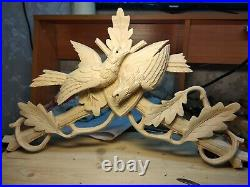 New Solid Wood Cuckoo Clock Topper Bird With Oak Leaves