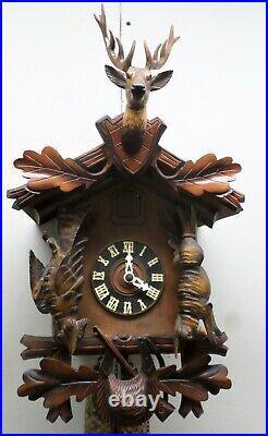 Nice Antique German Black Forest Hunter Deer Deeply Hand Carved Cuckoo Clock