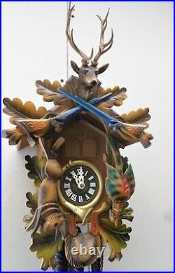 Nice German Bavarian Bachmaier & Klemmer Musical Hunter Deer Head Cuckoo Clock