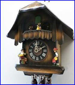 Nice German Black Forest 2 Tune Music Dancers Mountain Chalet Wood Cuckoo Clock