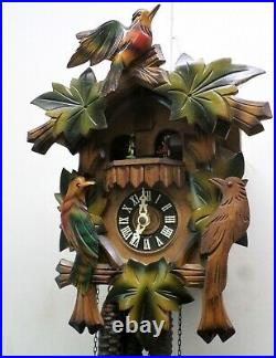 Nice German Black Forest 3 Bird Carved Swiss 2 Tune Music Dancers Cuckoo Clock