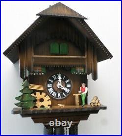 Nice German Black Forest Musical Wood Chopper Water Wheel Chalet Cuckoo Clock