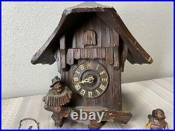 Not Working Wood Cuckoo Clock With Movements Brass For Parts DRGM Germany