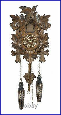 Quartz Cuckoo Clock 5 leaves, bird, with music TU 412 QM NEW