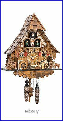 Quartz Cuckoo Clock Black Forest house with moving wood choppe. EN 4661 QMT NEW