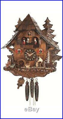 Quartz Cuckoo Clock Black Forest house with moving wood chopper. EN 473 QMT NEW