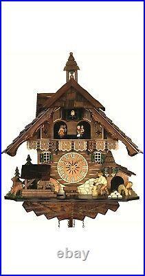 Quartz Cuckoo Clock Black Forest house with moving wood chopper. EN 483 QMT NEW
