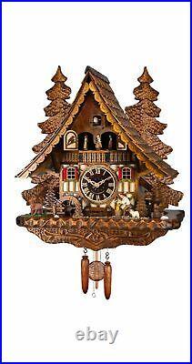 Quartz Cuckoo Clock Black Forest house with moving wood chopper. EN 499 QMT NEW