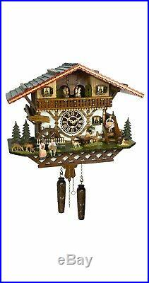 Quartz Cuckoo Clock Moving Beer Drinker, Waterwheel, Dancers Weights & 12 Tunes