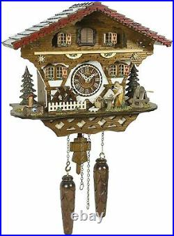 Quartz Cuckoo Clock Moving Blacksmith & Waterwheel with Weights & 12 Tunes