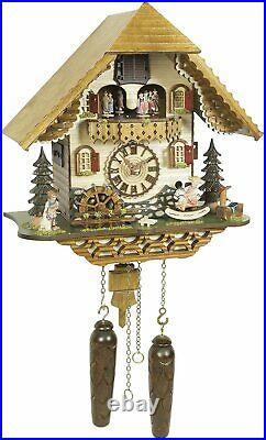 Quartz Cuckoo Clock Moving Dancers, Girl & Waterwheel with Weights & 12 Tunes