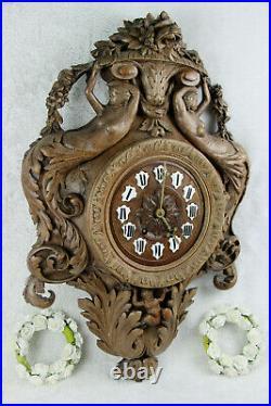 RARE Antique BLACK FOREST wood carved mermaids putti caryatid clock German