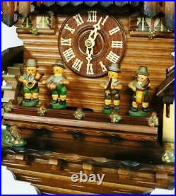 Rare German 8 Day Black Forest Weight Driven Musical Automaton Cuckoo Wall Clock