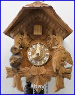 Rare German Black Forest Wood Mountain Chalet Cabin Conductor Bird Cuckoo Clock