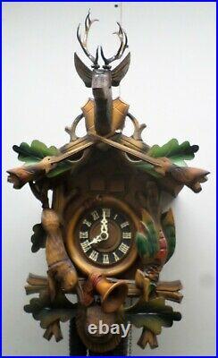 Rare Large German 2 Tune Music Hagos Hrastnig Bavarian Hunter Deer Cuckoo Clock