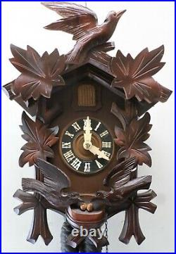 Rare Old Working German Black Forest Carved Nesting Birds And Eggs Cuckoo Clock