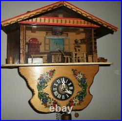 Rare Swiss Reuge Musical Wood Mountain Chalet Cuckoo Diorama Wall Clock