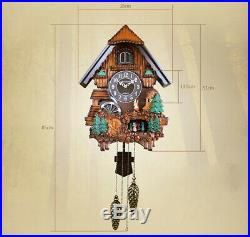Retro 18 Inch Resin Solid Wood Cuckoo Coo Living Room Rocking Wall Clock #