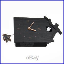 Retro Cuckoo Wall Clock Black Home Antique Vintage Style Wood Pendulum, Battery