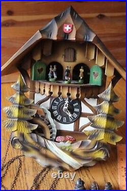 Reuge Wooden Cuckoo Clock wall Vintage trees people Lucerne Weggis Swiss German