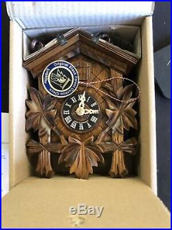 River City Hand Carved Cuckoo Clock Leaves/Bird Design 9 tall #11-09 Free Ship
