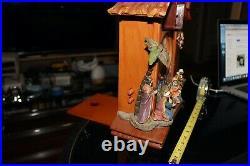 Roman Inc 14 Wood Carved Christmas Cuckoo Clock Nativity #37484