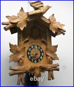 Stunning Antique Vienna Austria Wood Movement Deeply Carved 1885 Cuckoo Clock