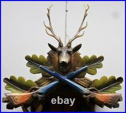 Stunning German Bachmeier & Klemmer Hunter Deer Swiss Music Wood Cuckoo Clock