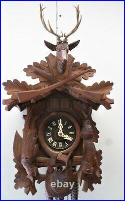 Stunning Large German Black Forest Hunter Deer Swiss Music Wood Cuckoo Clock