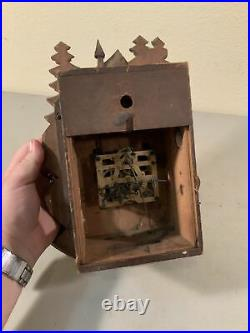 VINTAGE ANTIQUE CUCKOO CLOCK With REGULA MOVEMENT Hand Carved Wood Cottage Deer