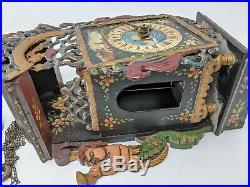 VINTAGE CUCKOO CLOCK antique mermaid merman metal wood for parts or repair NICE