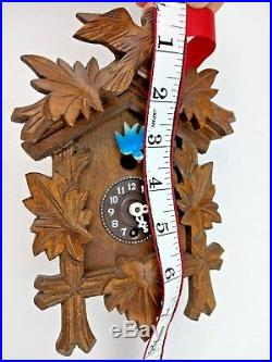 VINTAGE Carved Wood Birds Black Forest Small Cuckoo Clock Not Complete Untested